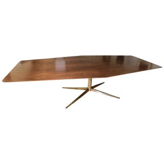 Custom Walnut Pedestal Dining Table With Brass Leg For Sale