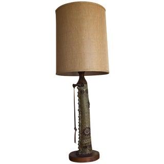 Vintage Mid Century Modern Handmade Clay Lamp For Sale