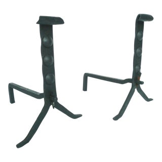Antique Wrought Iron Andirons - A Pair