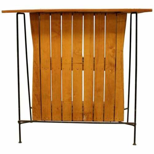 Mid Century Modern Arthur Umanoff for Raymor Iron & Wood Slat Standing Bar 1950s For Sale - Image 13 of 13
