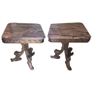 Pair Marble-Top End Tables Supported by Tri Pedestal Base Distress Gilt Finish For Sale