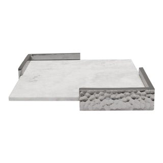 Worlds Away Matlock Nickel and Marble Square Tray For Sale
