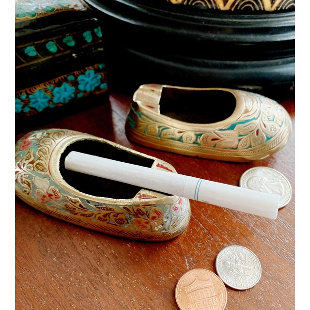 Vintage Ca 1960s Indian Mini Shoe Shape Ashtray - 2 Pieces For Sale - Image 11 of 12