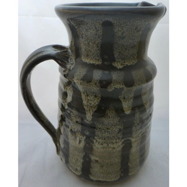 Brown Mid-Century Studio Pottery Water Pitcher For Sale - Image 8 of 10