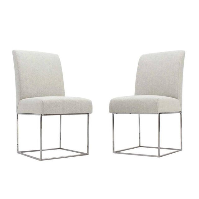 Set of Four Milo Baughman Mid Century Modern Chrome Dining Chairs New Upholstery For Sale - Image 9 of 10
