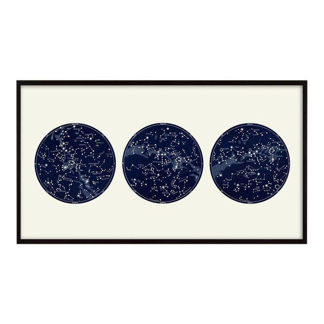"""""""Capricorn Press"""" Celestial Print With 3 Constellation Maps For Sale"""