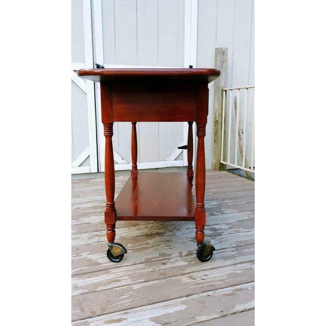 Metal 1950s Traditional Henkel Harris Solid Wild Black Cherry Wood Drop Leaf Rolling Server Cart For Sale - Image 7 of 13