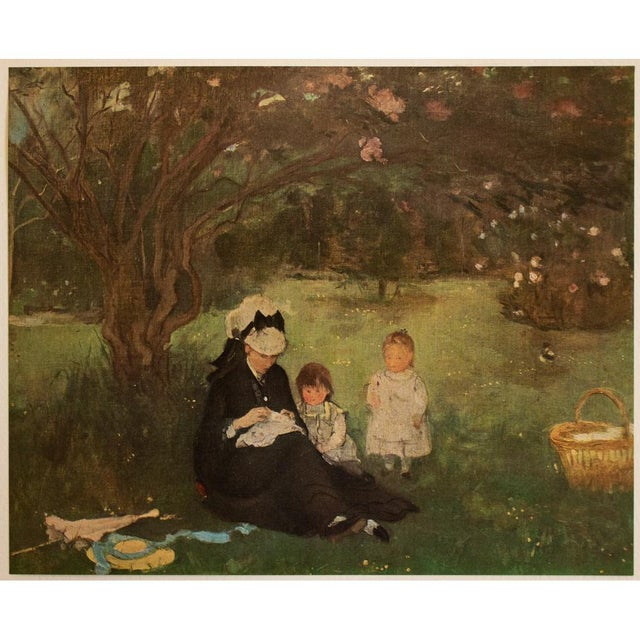 """Green 1951 After Berthe Morisot """"The Lilac in Maurecourt"""", First Edition Impressionist Parisian Lithograph For Sale - Image 8 of 8"""