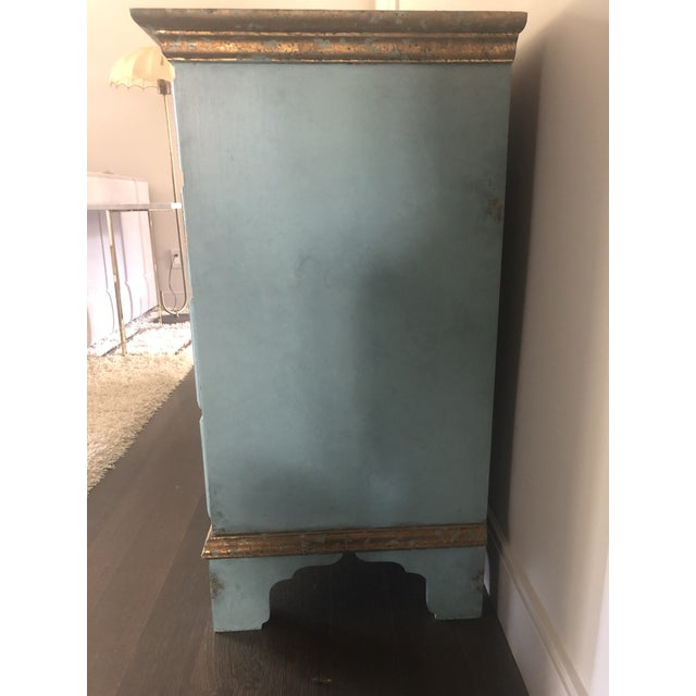 Vintage Blue Faux Painted Large Chest of Drawers Dresser For Sale - Image 4 of 13