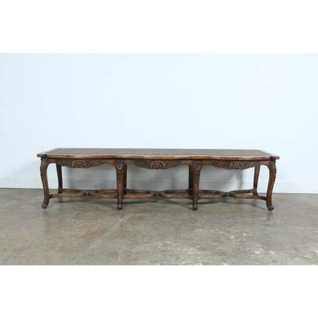 Italian Style Carved Wood Cane Seat Bench - Image 3 of 10