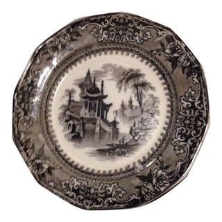 Mid 19th Century Gothic Transferware Ironstone Plate For Sale