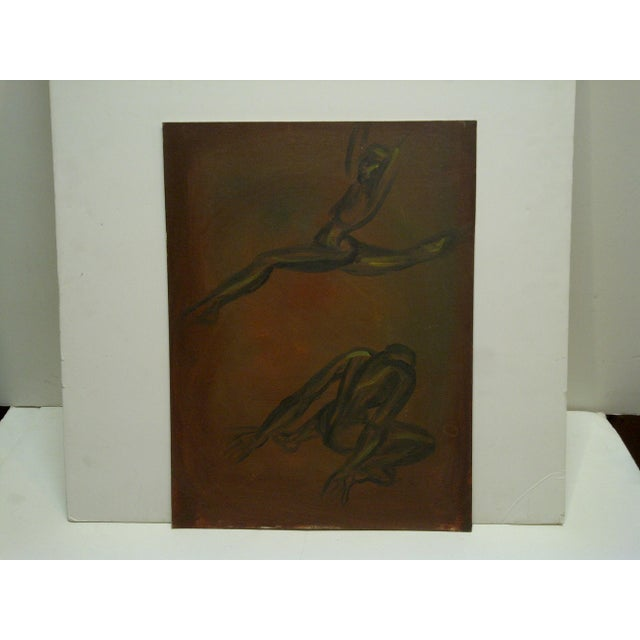 """This is an original painting on board titled """"Ballet Dancing."""" The artist is unknown."""