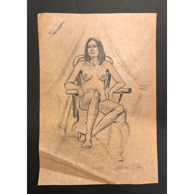 1970s 1970s Hilliard Dean Female Nude Drawing For Sale - Image 5 of 5