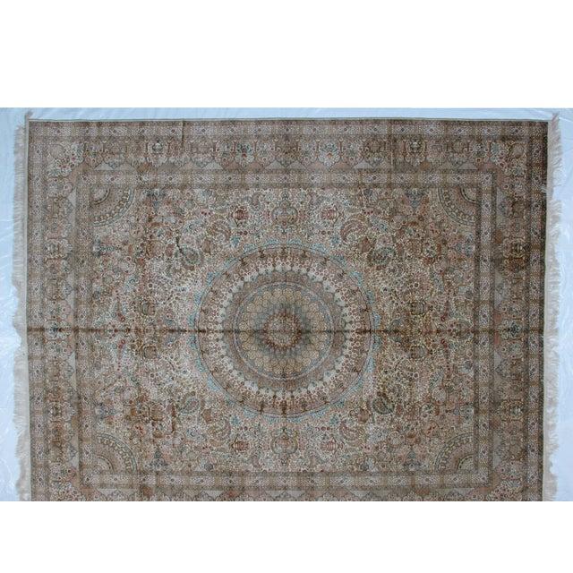 Islamic Leon Banilivi Pure Silk Tabriz Carpet - 8' x 10' For Sale - Image 3 of 10