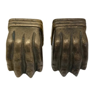 Vintage Brass Lion Claw Feet Bookends - a Pair For Sale