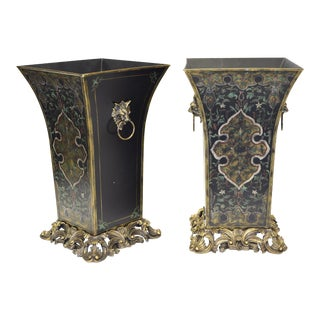 Gold and Black Planters - Set of 2