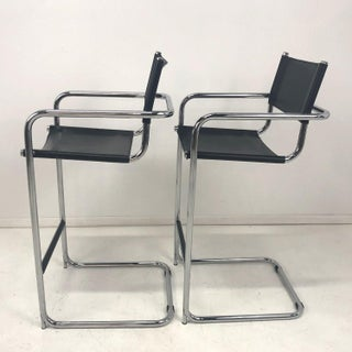 Mart Stam Cantilever Chrome Leather Bar Stools, Italian - a Pair Preview