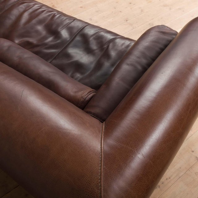 Mid-Century Baxter Buffalo Leather Italian Sofa For Sale - Image 9 of 12