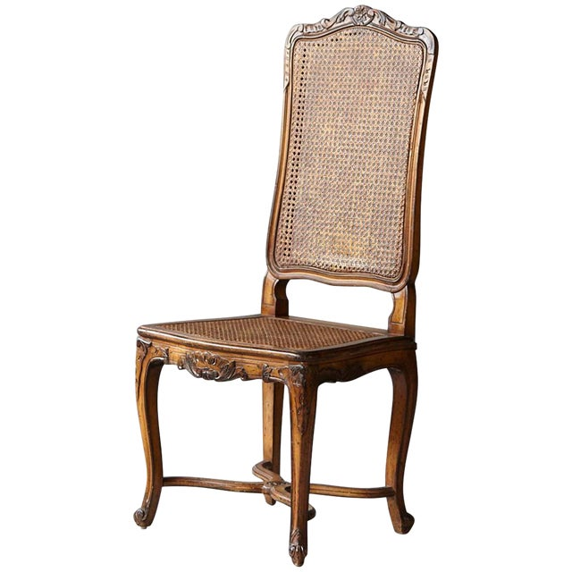 19th Century Louis XV Style Caned High Back Wood Chaise For Sale