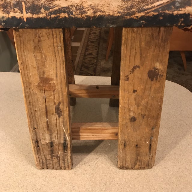 Vintage Distressed Leather Saddle Stool For Sale - Image 9 of 13