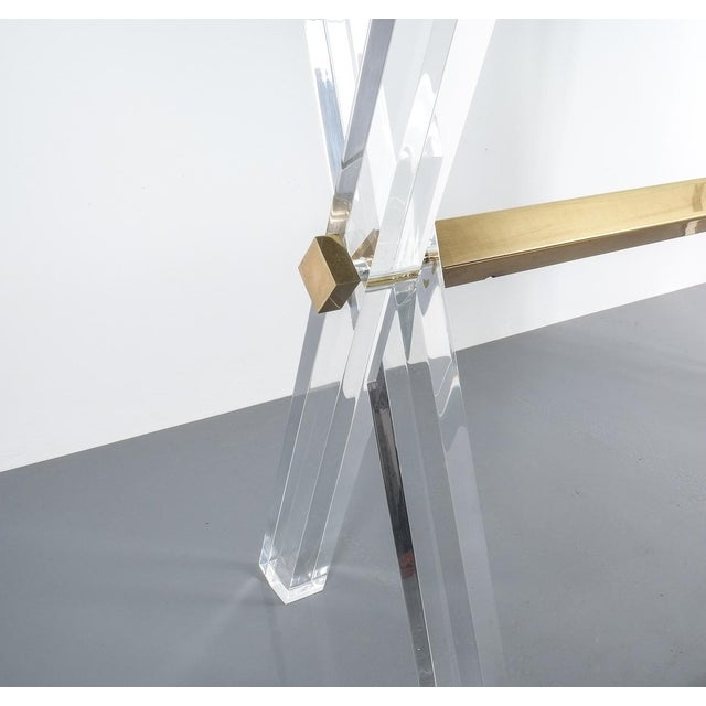 Lucite and Brass X Frame Console Table, Circa 1970 For Sale - Image 11 of 13