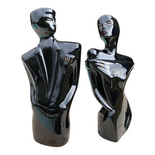 Modernist Nagel Style Male & Female Sculptures - A Pair