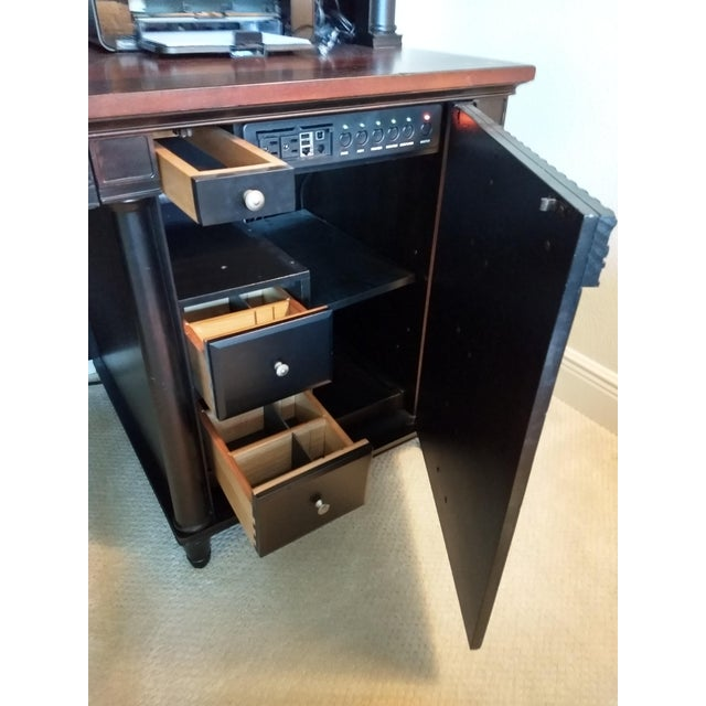 Home or Office Desk Credenza Hutch Combination - a Great Piece in Great Condition at a Great Price For Sale - Image 9 of 13