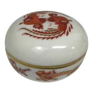 Vintage Meissen Porcelain Trinket Box With Pheasants & Red Dragon For Sale