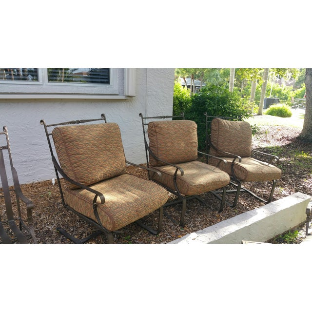 Hand Forged Wrought Iron Patio Lounge Chairs - Set of 4 - Image 2 of 7