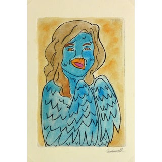 Ana May, Etching - Blue Bird Lady For Sale