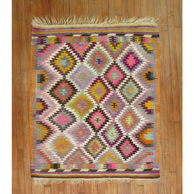 Vintage Flat Weave Kilim Rug - 3'9'' X 4'6'' For Sale - Image 4 of 8
