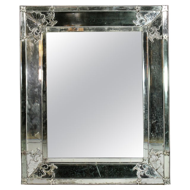 Silver Venetian Glass Mirror For Sale - Image 8 of 8