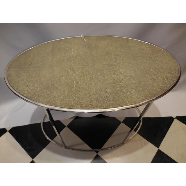 Contemporary Theodore Alexander Oval Shagreen Top Table For Sale - Image 3 of 6