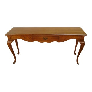1980s Queen Anne Thomasville Fisher Park Pecan Wood Console Table For Sale