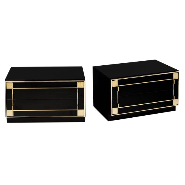 Mid-Century Modern French Lacquered Side Tables by Pierre Cardin - a pair For Sale