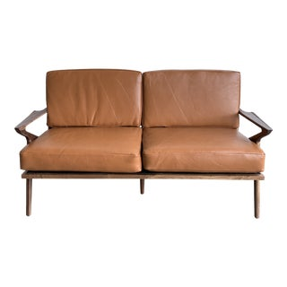 Mid Century Solid Walnut Lounge Loveseat For Sale