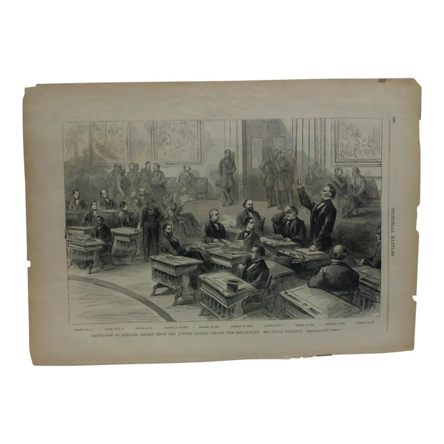 "Mid 19th Century Antique ""Expulsion of Senator Bright From the United States Senate for Disloyalty"" Pictorial Battles of the Civil War Print For Sale"