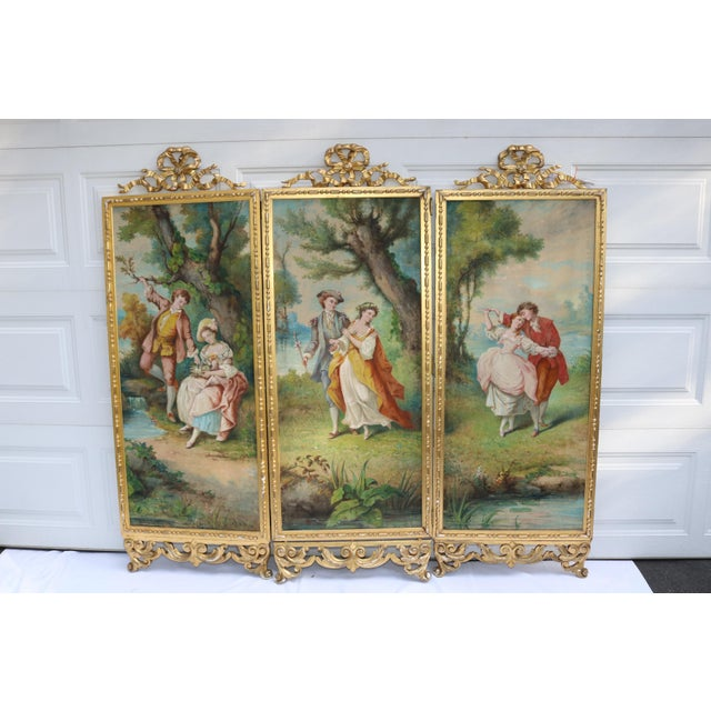 Antique Baroque Gold Painted Tri Fold Victorian Tapestry Room Screen