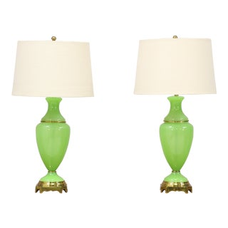 Paul Hanson French Charteuse Opaline Lamps - a Pair