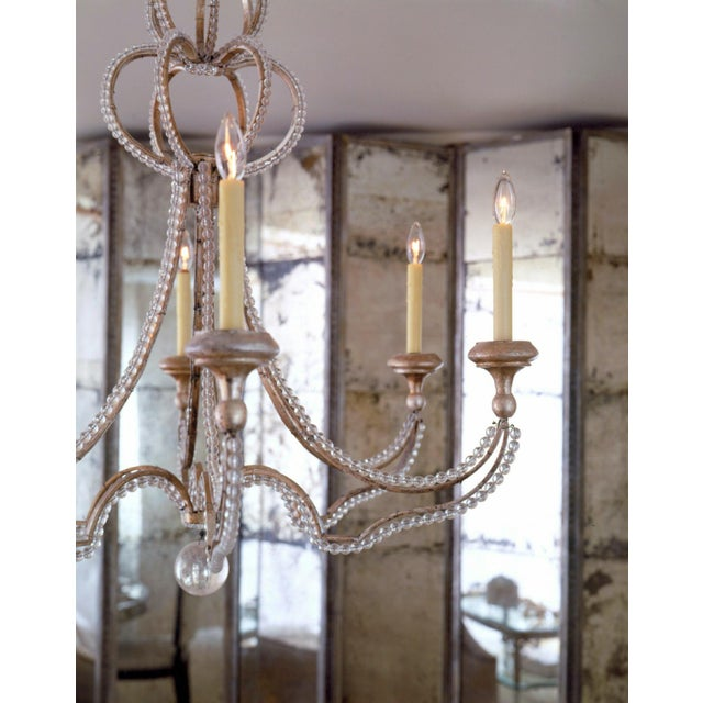 19th century inspired Niermann Weeks Danielli chandelier with glass crystals beads applied to the wood frame that is...
