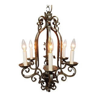 1930s Gothic Tudor Bronze Iron Chandelier For Sale