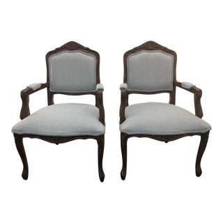 Louis XV Style Reupholstered Armchairs- Set of 2 For Sale