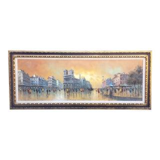 Vintage Oil Painting of Paris by Antonio DeVity For Sale