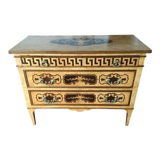 1990s Art Nouveau Inlaid Wood Chest For Sale