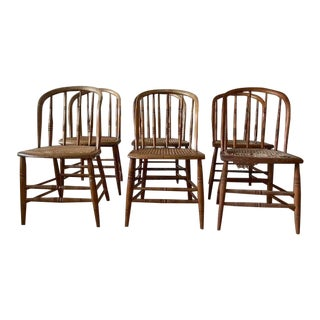 19th Century Vintage Cane Seat Spindle Bow Back Windsor Chairs - Set of 6 For Sale