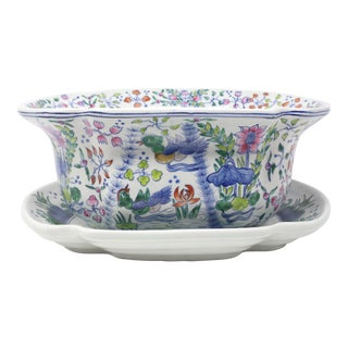 Large Hand-Painted Ducks and Lotus Centerpiece Bowl For Sale