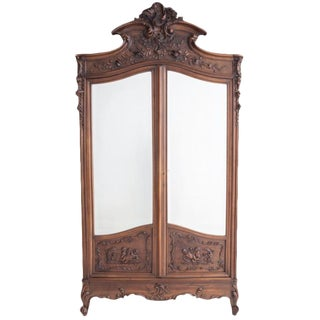 French 19th Century Louis XV Carved Walnut Mirror-Front Armoire For Sale