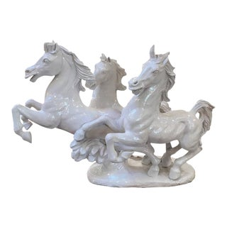 Italian Blanc De Chine Running Stallions Sculpture For Sale