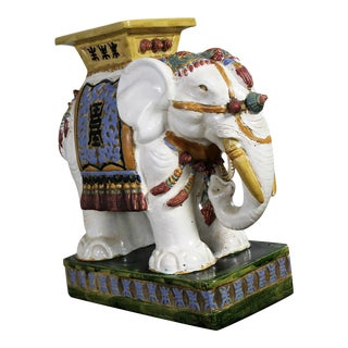 Elephant Garden Stool Side End Table Stand Vintage Made in Vietnam