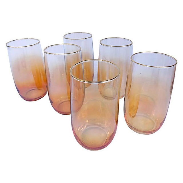 Mid-Century Modern Iridescent Ombre Glasses with Pitcher - 7 Piece Set For Sale - Image 3 of 5